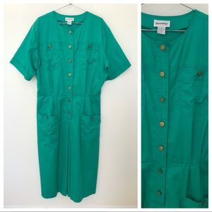 Vintage Dresses - Vtg Tanner Green Cotton Day Dress L